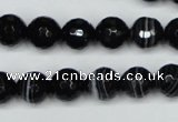 CAG5274 15.5 inches 10mm faceted round black line agate beads