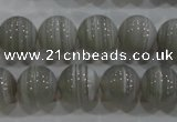 CAG5323 15.5 inches 12mm round grey line agate beads wholesale