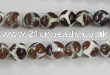 CAG5338 15.5 inches 8mm faceted round tibetan agate beads wholesale