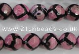 CAG5349 15.5 inches 12mm faceted round tibetan agate beads wholesale