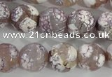 CAG5355 15.5 inches 14mm faceted round tibetan agate beads wholesale