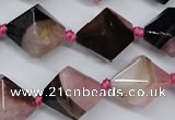 CAG5496 15.5 inches 18*18mm faceted bicone agate gemstone beads