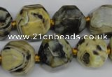 CAG5599 15 inches 15mm faceted nuggets agate gemstone beads