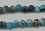 CAG5658 15 inches 4mm faceted round fire crackle agate beads