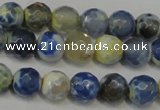 CAG5669 15 inches 6mm faceted round fire crackle agate beads