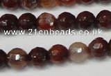CAG5676 15 inches 6mm faceted round fire crackle agate beads