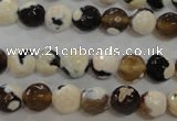 CAG5681 15 inches 8mm faceted round fire crackle agate beads