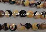 CAG5682 15 inches 8mm faceted round fire crackle agate beads
