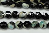 CAG5684 15 inches 8mm faceted round fire crackle agate beads