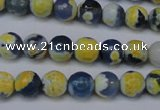 CAG5688 15 inches 8mm faceted round fire crackle agate beads