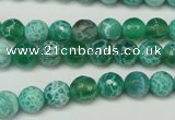 CAG5698 15 inches 8mm faceted round fire crackle agate beads