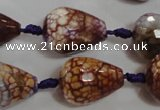 CAG5732 15 inches 15*20mm faceted teardrop fire crackle agate beads