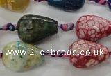CAG5736 15 inches 15*20mm faceted teardrop fire crackle agate beads