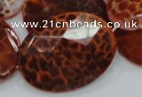 CAG579 15.5 inches 40*50mm faceted oval natural fire agate beads