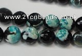 CAG5811 15 inches 10mm faceted round fire crackle agate beads