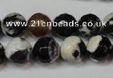 CAG5823 15 inches 12mm faceted round fire crackle agate beads
