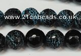 CAG5838 15 inches 12mm faceted round fire crackle agate beads