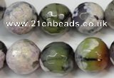 CAG5856 15 inches 16mm faceted round fire crackle agate beads