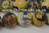 CAG5869 15 inches 16mm faceted round fire crackle agate beads
