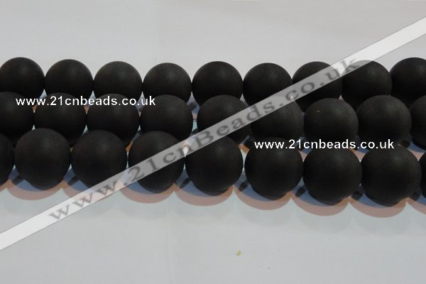 CAG6018 15.5 inches 20mm round matte black agate beads