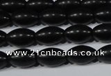 CAG6024 15.5 inches 6*9mm rice matte black agate beads