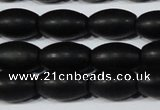 CAG6026 15.5 inches 8*12mm rice matte black agate beads