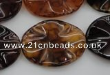 CAG6060 15.5 inches 18*25mm wavy oval dragon veins agate beads