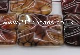 CAG6065 15.5 inches 18*25mm wavy rectangle dragon veins agate beads