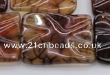 CAG6066 15.5 inches 22*30mm wavy rectangle dragon veins agate beads