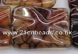 CAG6087 15.5 inches 40*40mm wavy square dragon veins agate beads