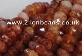 CAG612 15.5 inches 6*10mm faceted rondelle natural fire agate beads