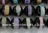 CAG6136 15 inches 10mm faceted round tibetan agate gemstone beads