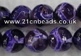 CAG6146 15 inches 12mm faceted round tibetan agate gemstone beads