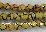 CAG6165 15 inches 8mm faceted round tibetan agate gemstone beads