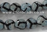 CAG6185 15 inches 8mm faceted round tibetan agate gemstone beads