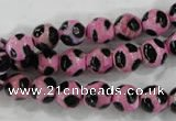 CAG6212 15 inches 12mm faceted round tibetan agate gemstone beads