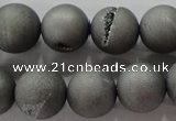 CAG6225 15 inches 14mm round plated druzy agate beads wholesale