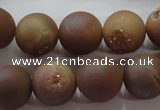 CAG6325 15 inches 14mm round plated druzy agate beads wholesale