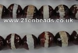 CAG6363 15 inches 10mm faceted round tibetan agate gemstone beads