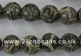 CAG6384 15 inches 12mm faceted round tibetan agate gemstone beads