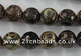 CAG6399 15 inches 12mm faceted round tibetan agate gemstone beads