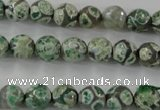 CAG6409 15 inches 8mm faceted round tibetan agate gemstone beads