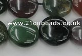 CAG6772 15.5 inches 16mm flat round Indian agate beads wholesale
