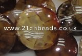 CAG694 15.5 inches 30mm flat round dragon veins agate beads