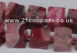 CAG7381 15.5 inches 11*12mm - 13*14mm cube dragon veins agate beads