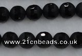 CAG7451 15.5 inches 6mm faceted round matte black agate beads