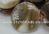 CAG780 15.5 inches 35mm flat round yellow agate gemstone beads