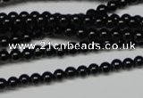 CAG7850 15.5 inches 2mm round black agate beads wholesale