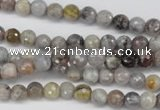 CAG7870 15.5 inches 4mm faceted round silver needle agate beads