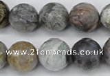 CAG7872 15.5 inches 18mm faceted round silver needle agate beads